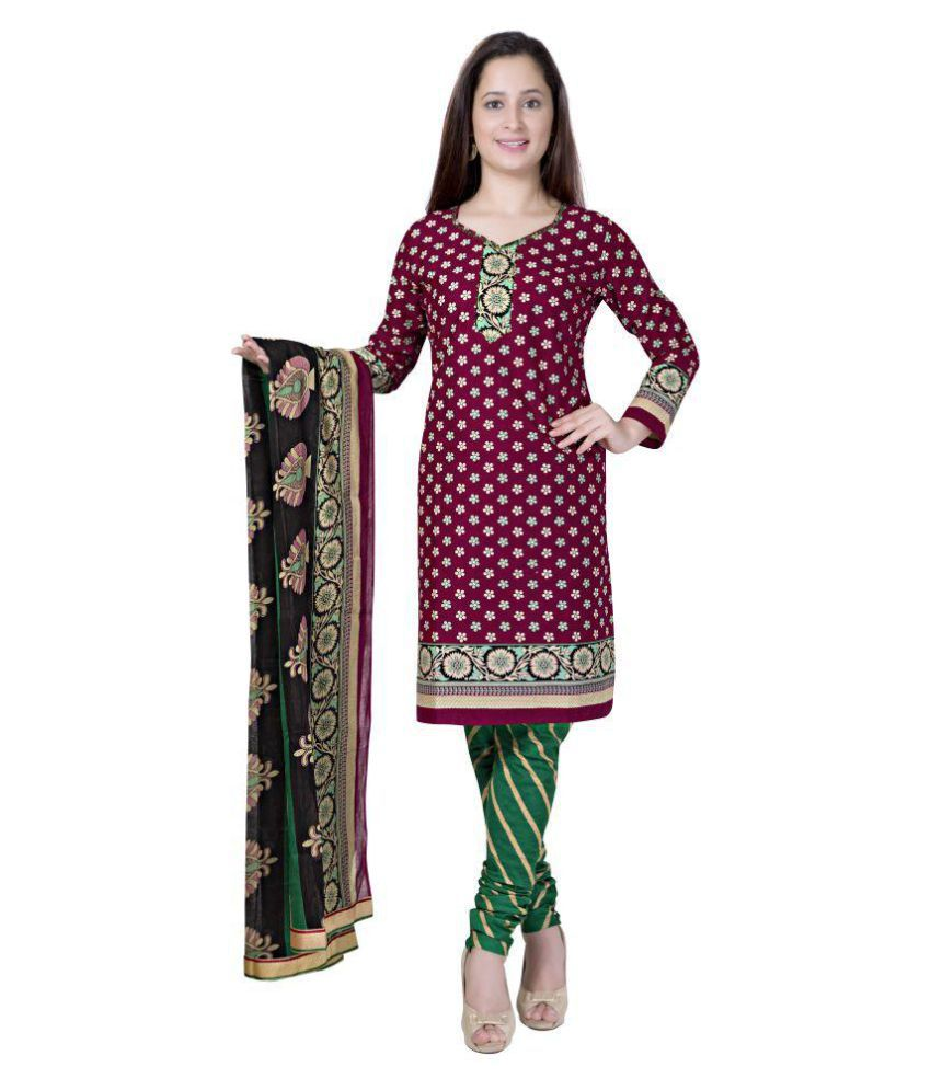 Pari Maroon Cotton Straight Stitched Suit