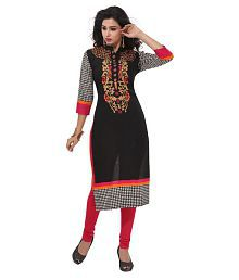 Amp Impex Black Cotton Printed Unstitched Kurti