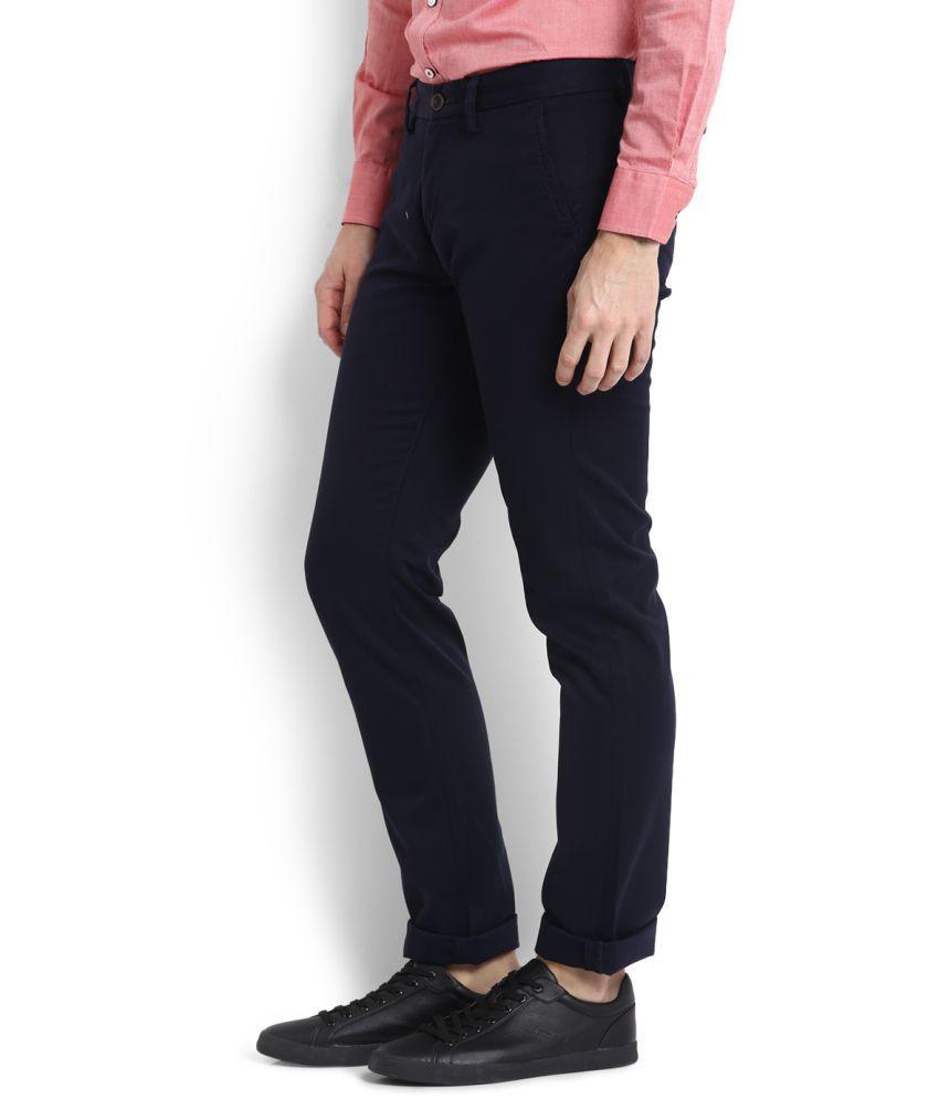 Allen Solly Blue Regular Flat Trousers