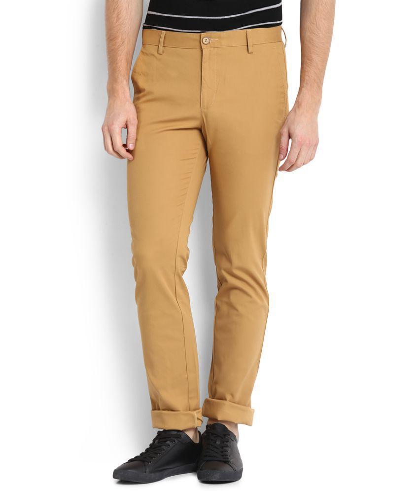 Allen Solly Khaki Regular Flat Trousers