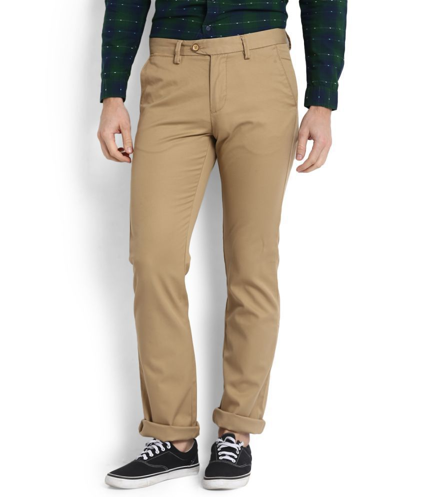 Allen Solly Khaki Slim Flat Trousers