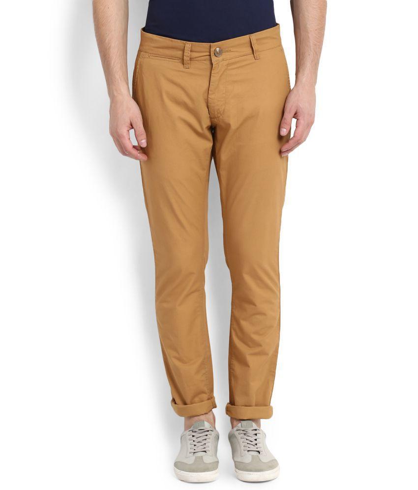 People Khaki Regular Flat Trousers