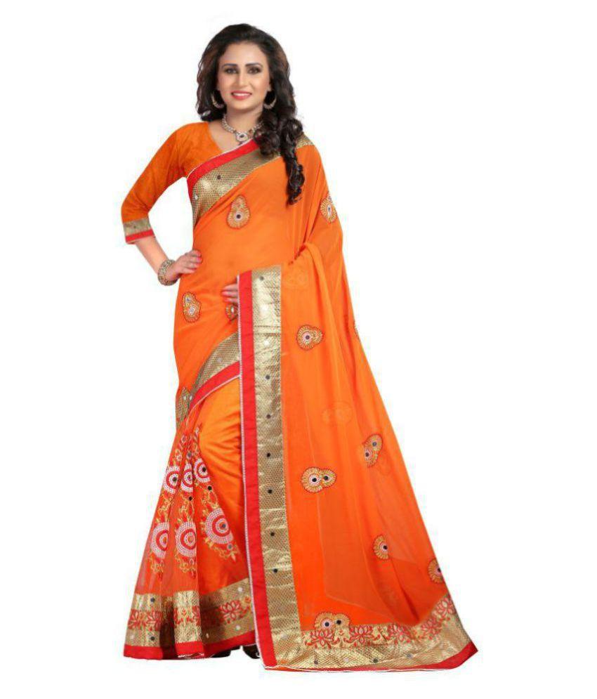 Radhe Creation Orange Chiffon Saree