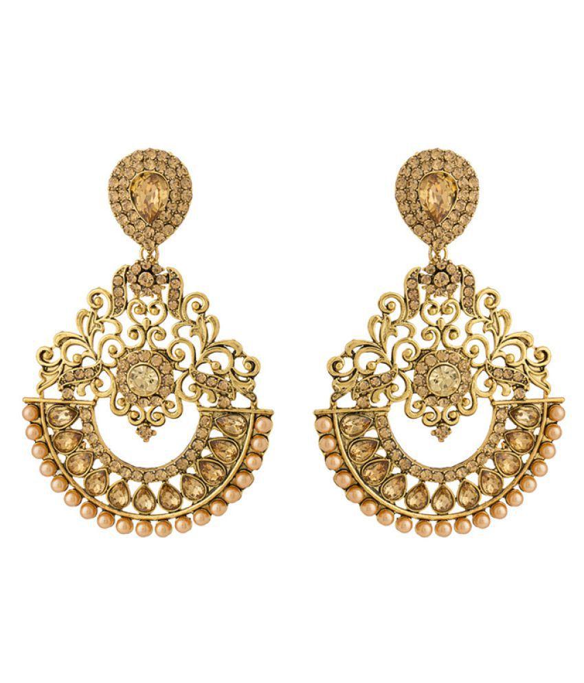 Voylla Designer Dangler Earrings For Women With Beige Colored Stones Embellishment