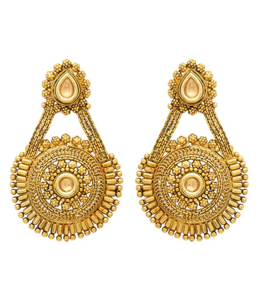 Voylla Golden Hanging Earrings for Women