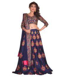 Fabkaz Navy Bangalore Silk Semi Stitched Lehenga