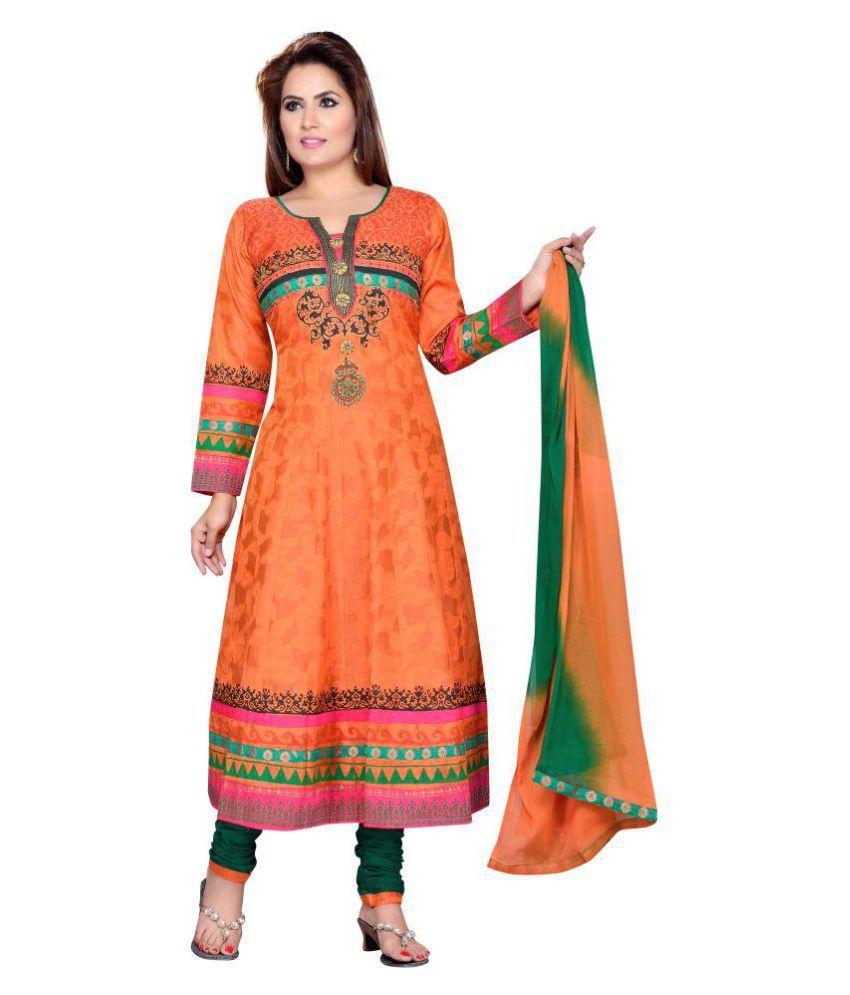 Krusha Art Orange Chanderi Anarkali Stitched Suit
