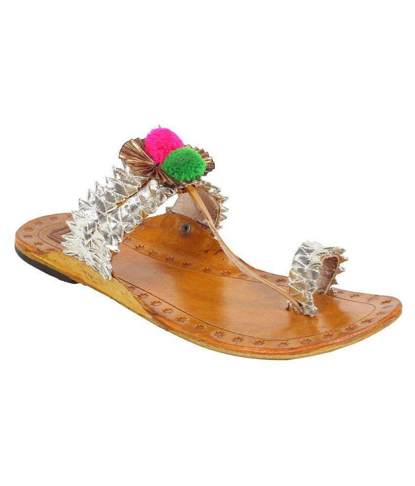 N-Gal Silver Flat Ethnic Footwear