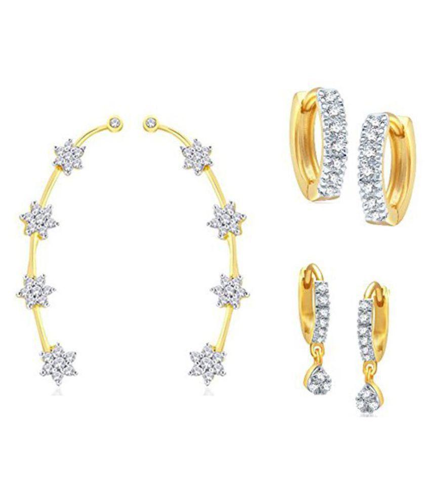 Zeneme Golden Alloy Earrings Combo - Pair Of 3