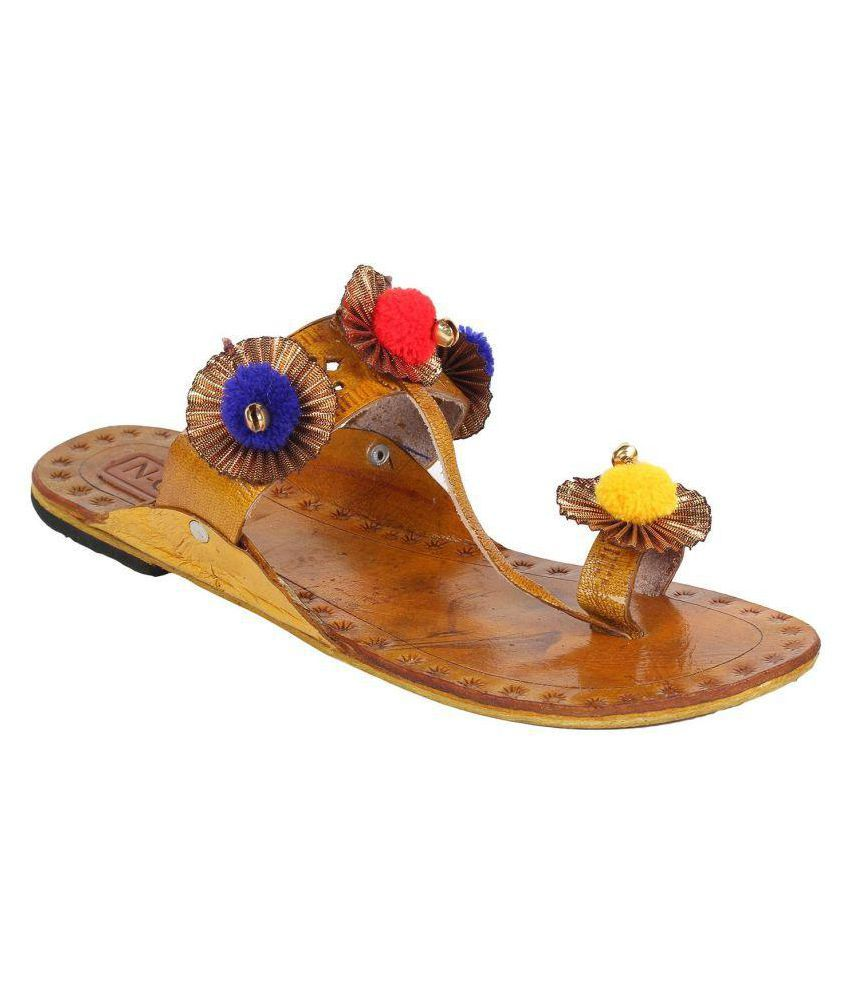 N-Gal Brown Flat Ethnic Footwear