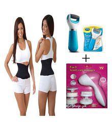 Ibs Sauna Slim Waist Tummy Abdomen Belt FACIAL KIT Massager SWEAT BELT,FOOT Pedi Spin CARE Pack Of 3 Regular Pack Of 3 - 633275836224