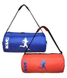 Kvg Blue & Orange Medium Polyester Gym Bag