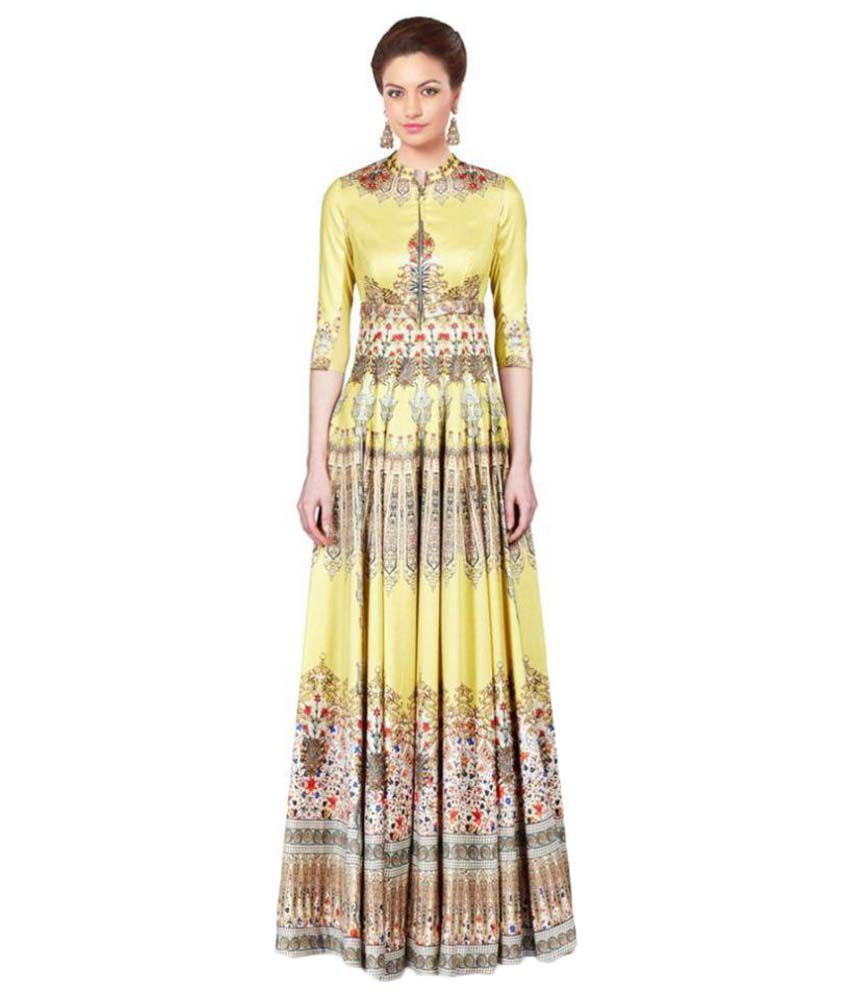 Ethnic India Silk Gown - Buy Ethnic India Silk Gown Online at Best ...