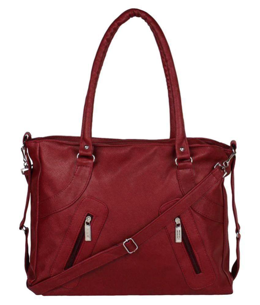 Lady Bar Maroon Artificial Leather Shoulder Bag