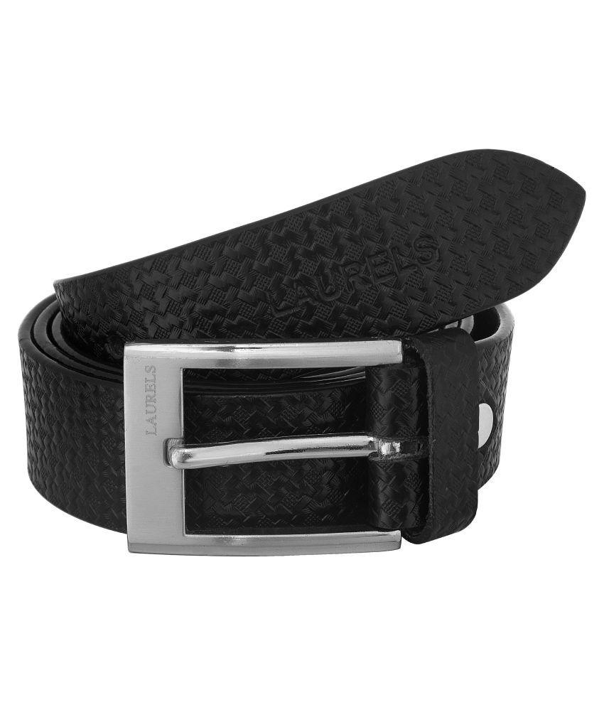 Laurels Black Leather Casual Belts