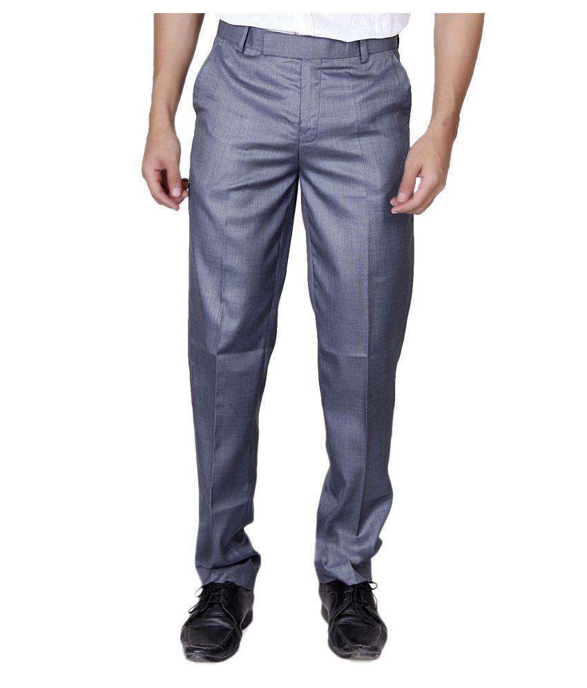 Villain Grey Slim Flat Trousers