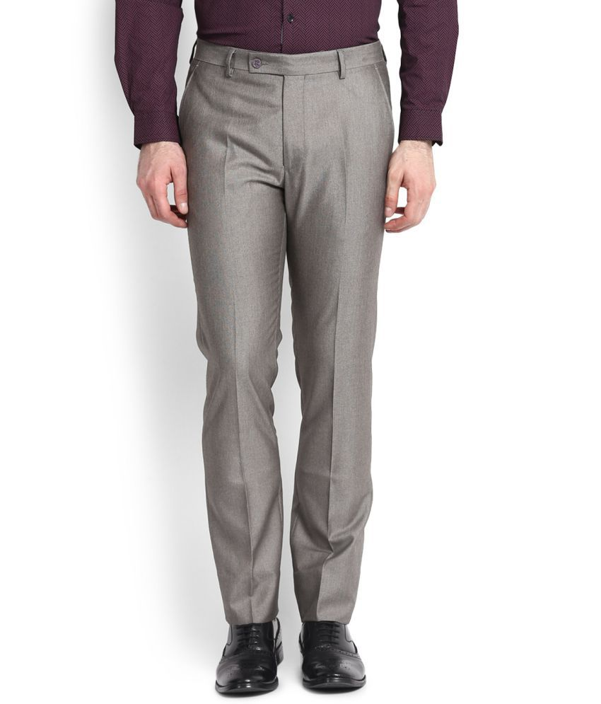 Arrow Grey Slim Flat Trousers