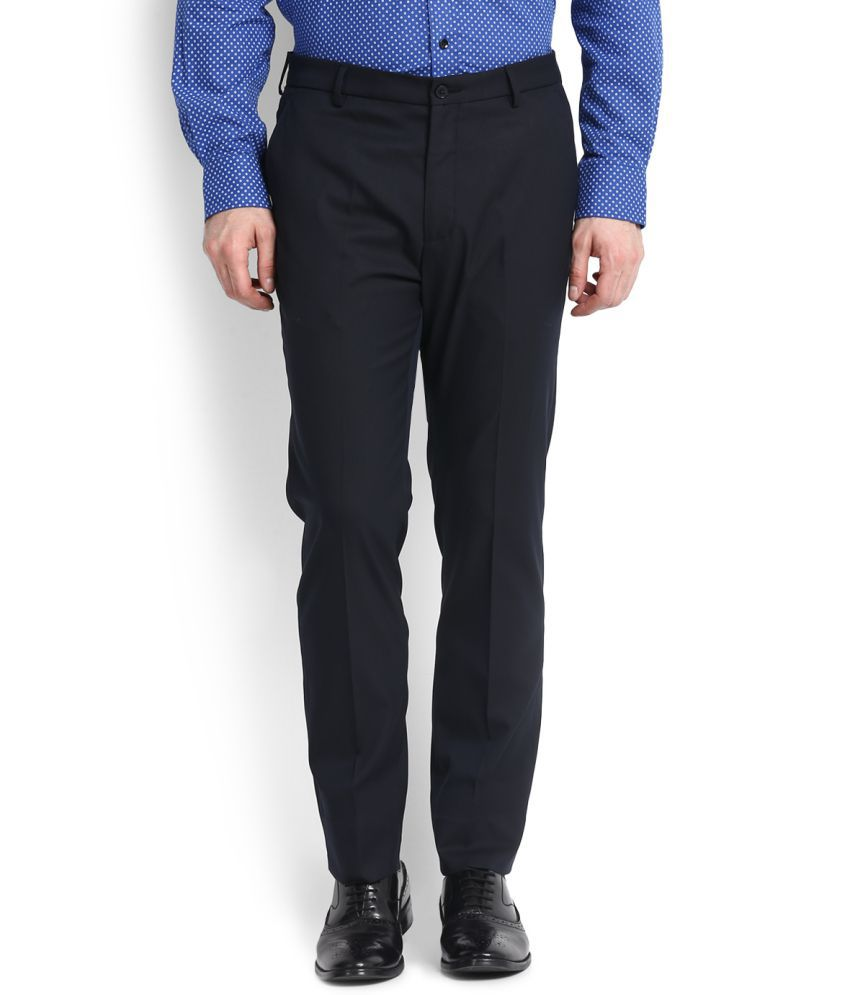 Arrow Navy Blue Slim Flat Trousers