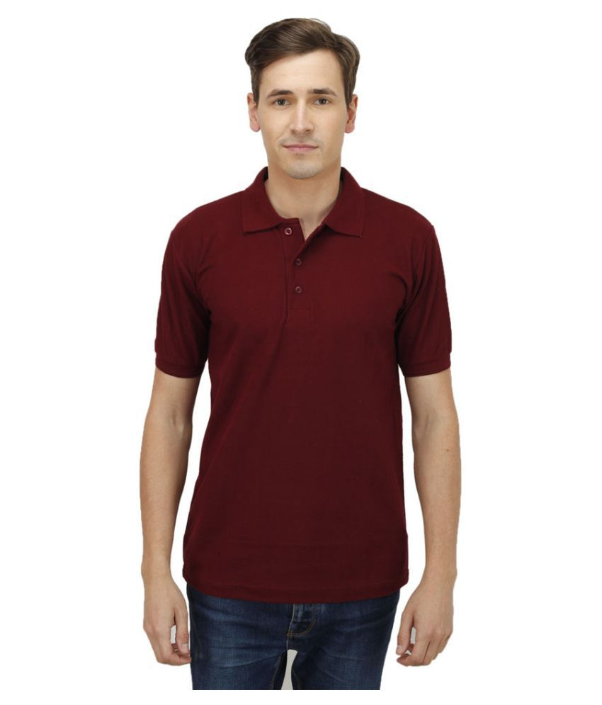 Haltung Maroon Cotton Polo T-shirt