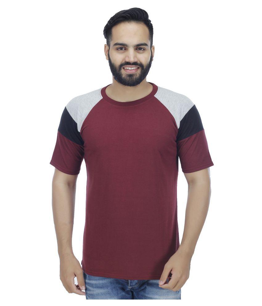 Sanvi Traders Maroon Round T-Shirt
