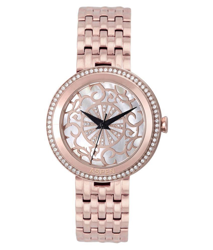 Aspen Power Bold Lattice Rose Round Dial Ladies Watch AP2018