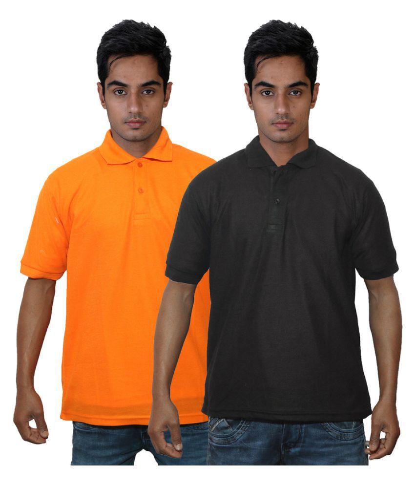 Dfnk Atlanta Orange Cotton Polo T-shirt Pack of 2