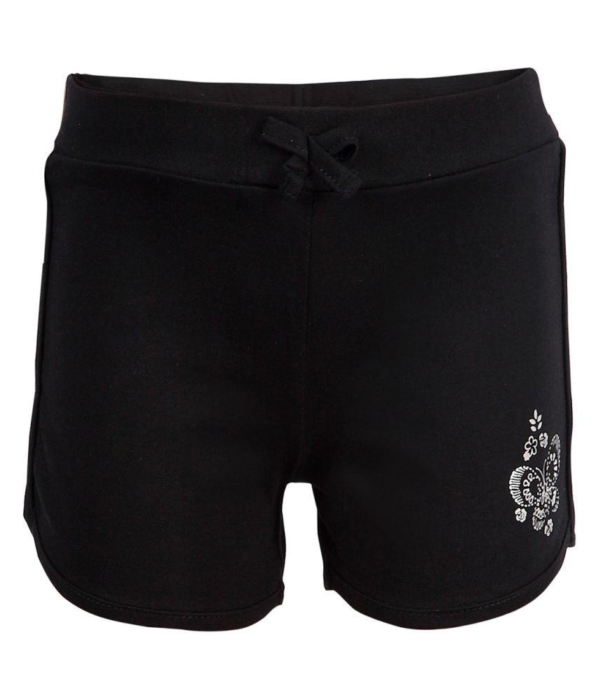 CTEE Black Cotton Solid Girl's Shorts