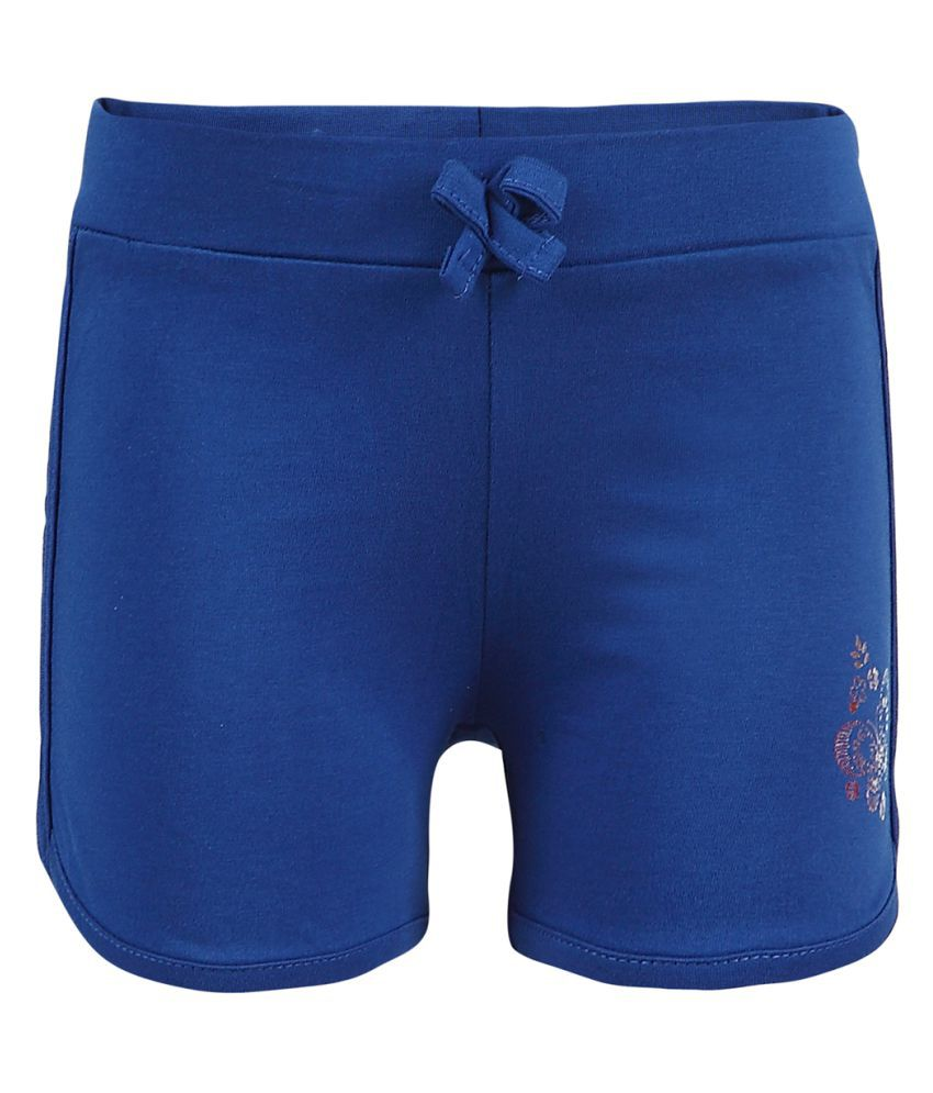 Pink & Blue Blue Shorts for Girls