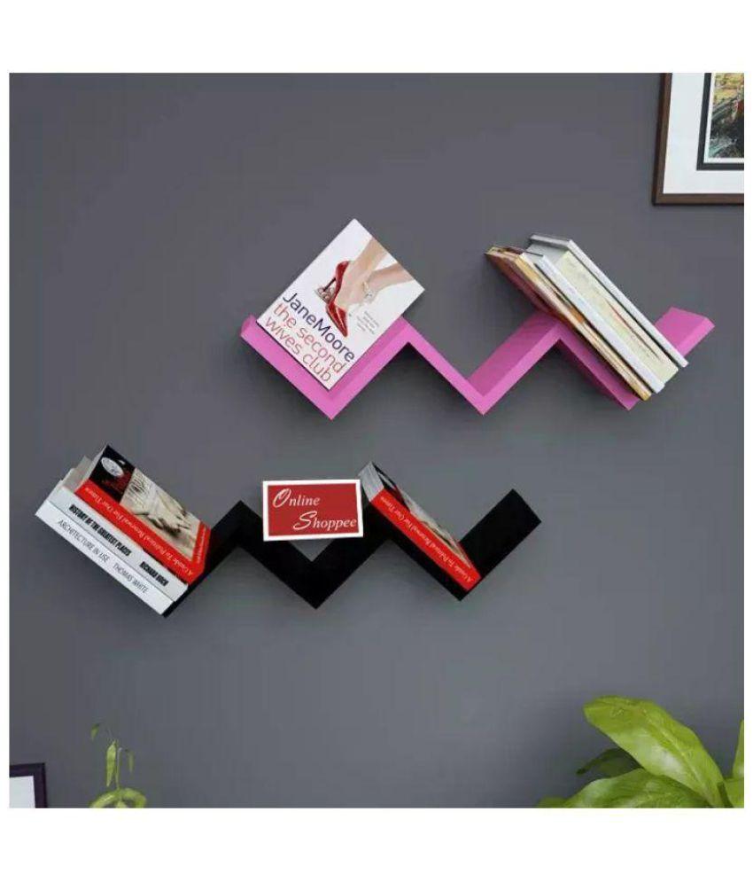 Onlineshoppee Floating Shelf/ Wall Shelf / Storage Shelf/ Decoration Shelf Multicolour Set of 2