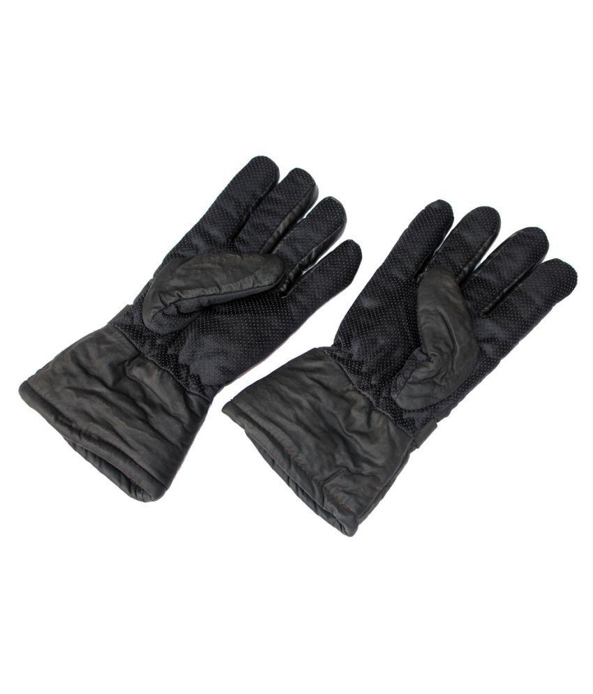 Mens leather gloves online india -  Black Winter Leather Gloves For Men