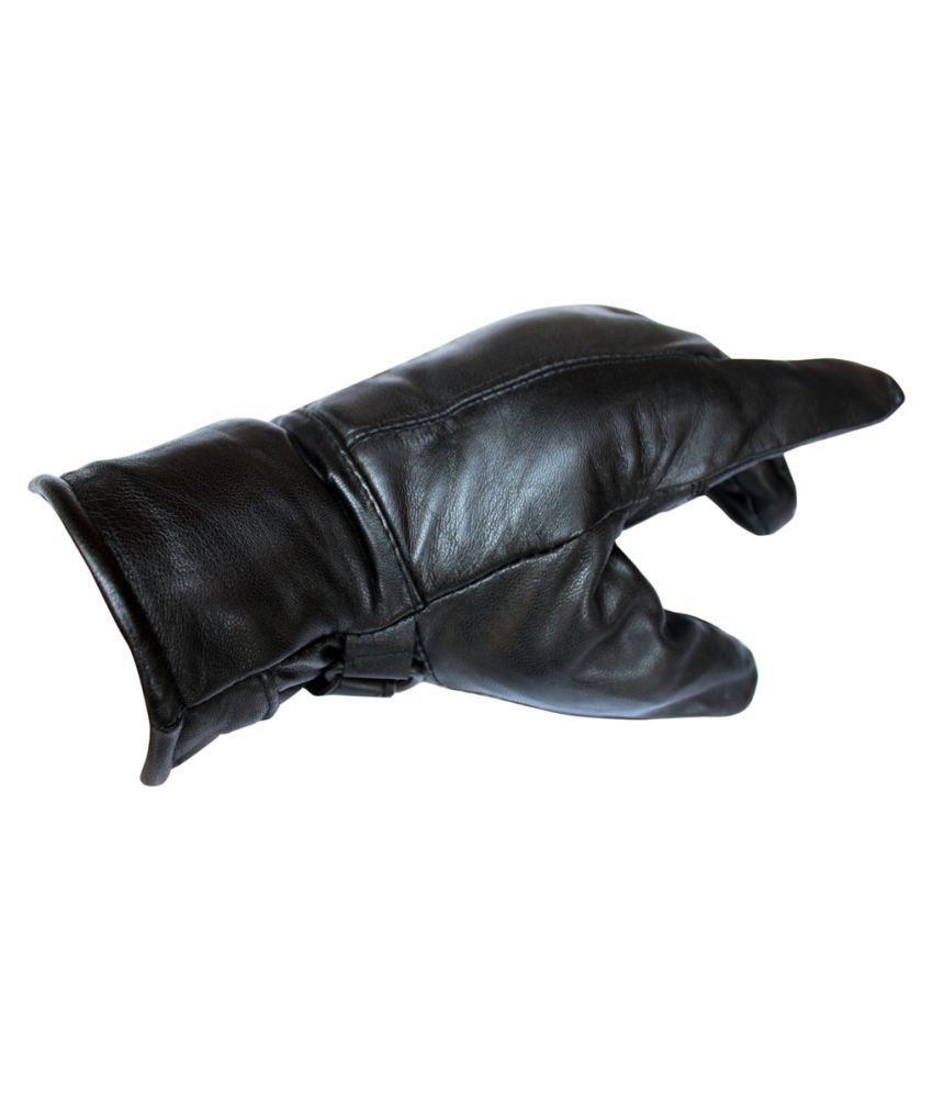 Mens leather gloves online india -  Winsome Deal Black Winter Leather Gloves For Men