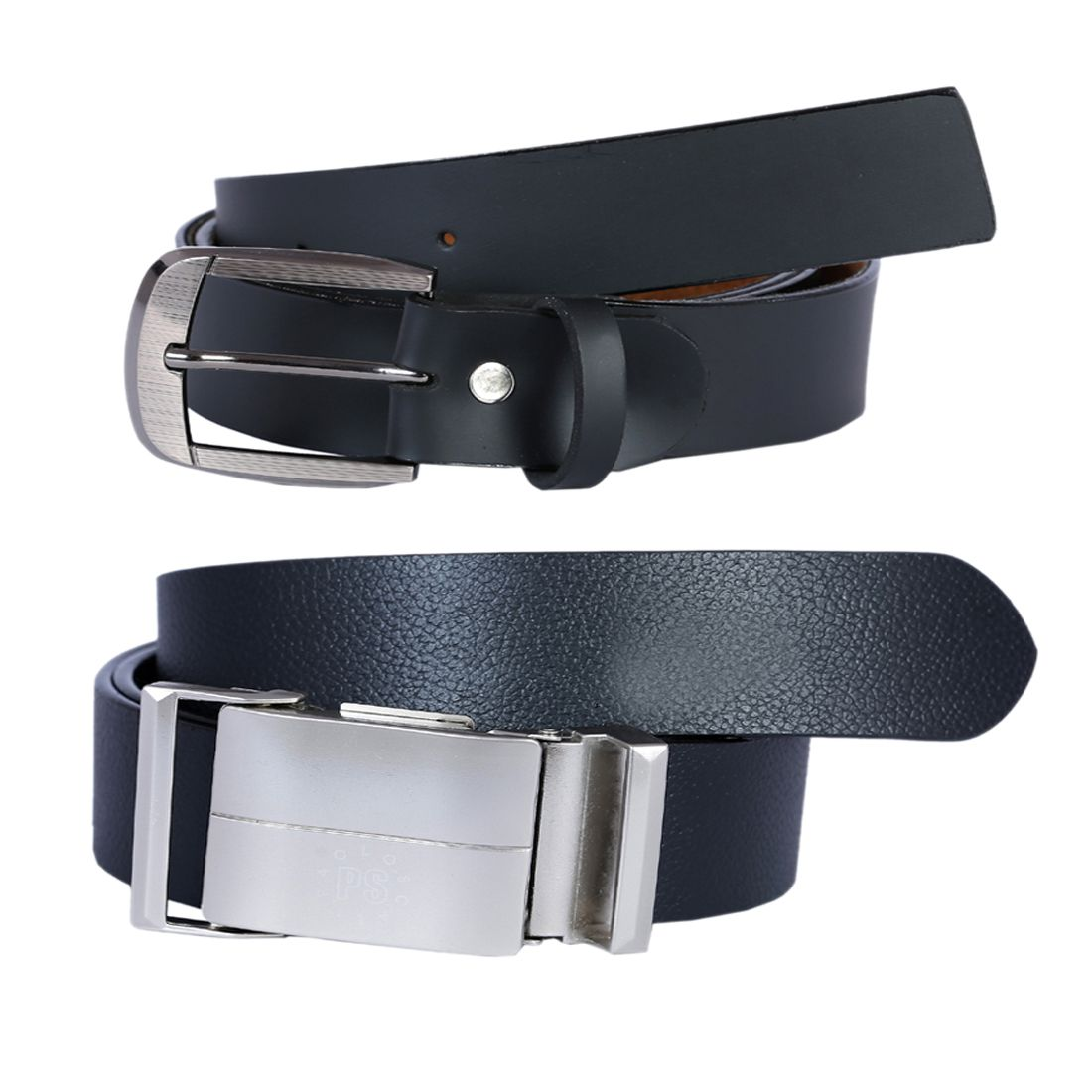 Hardys Collection Black Leather Casual Belts Pack of 2