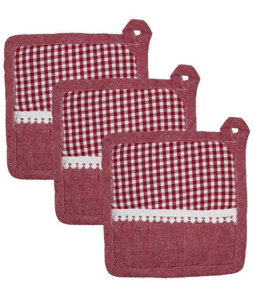 Airwill Red Cotton Pot Holder - Set of 3