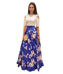 Shree Impex Blue Bhagalpuri Silk Circular Unstitched Lehenga
