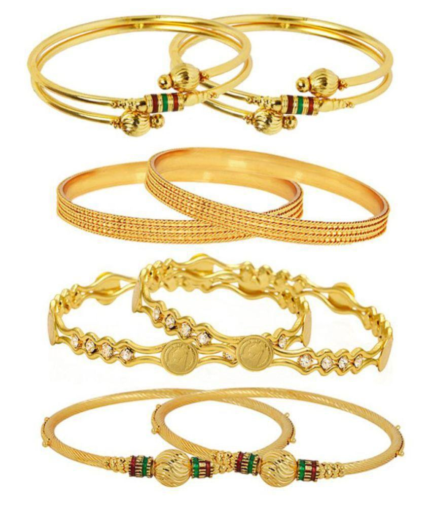 Penny Jewels Golden Alloy Traditional Party Wear & Wedding Bangles Set For Women & Girls