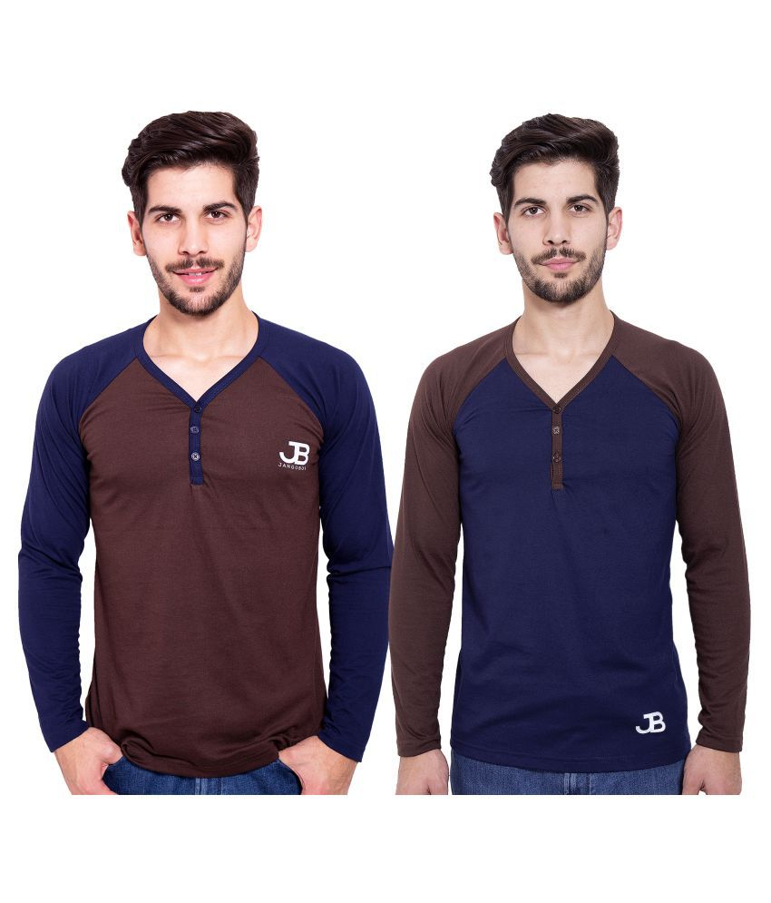 Jangoboy Multi Henley T-Shirt Pack of 2