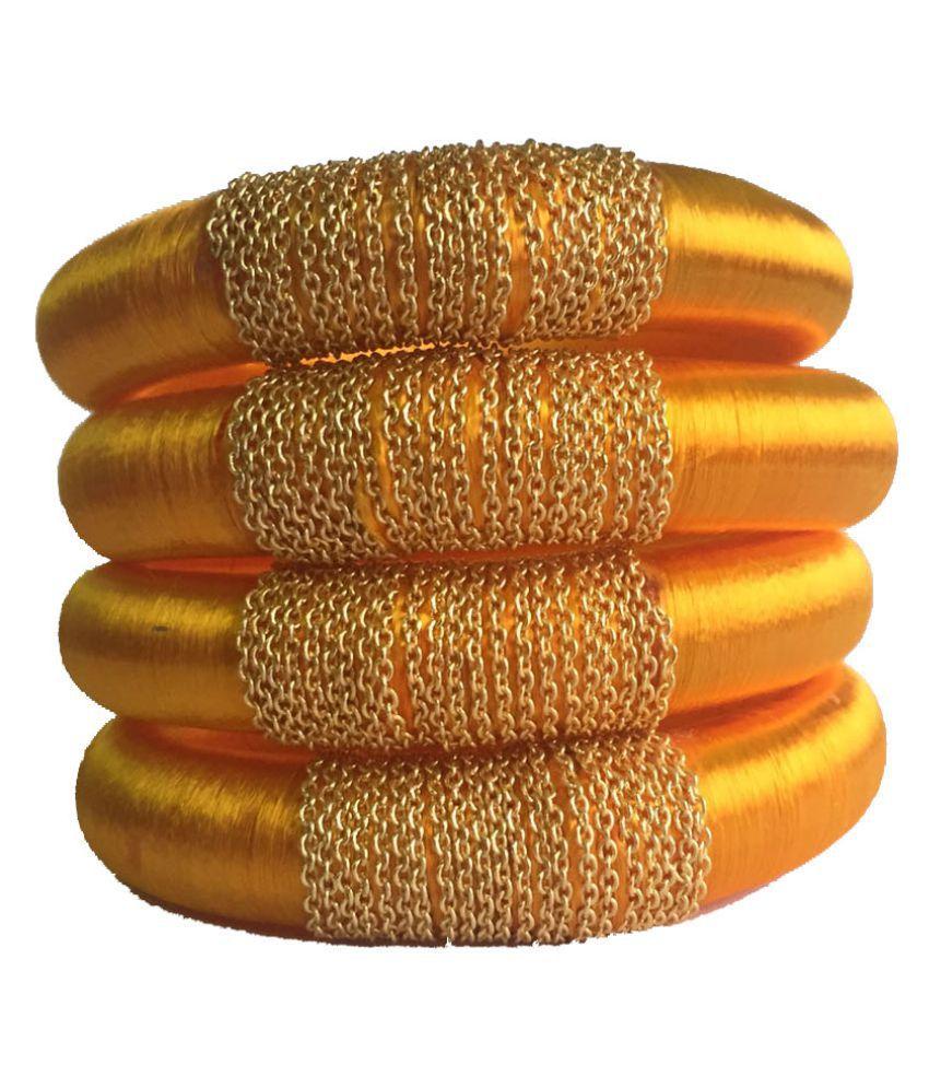Kuhuk Yellowr Silk Thread Plastic Bangle Set