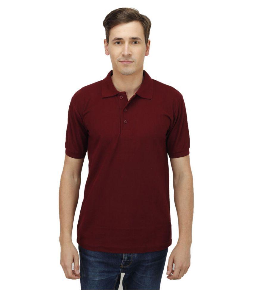 Haltung Maroon Cotton Polo T-shirt