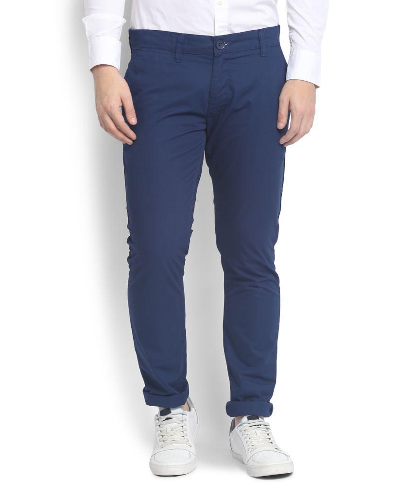 People Blue Slim Flat Trousers