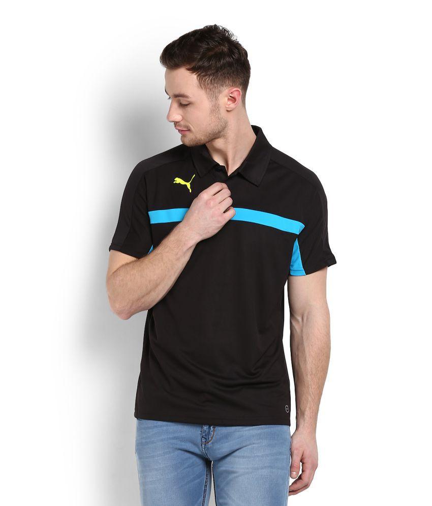 Puma Black Polyester Polo T-shirt