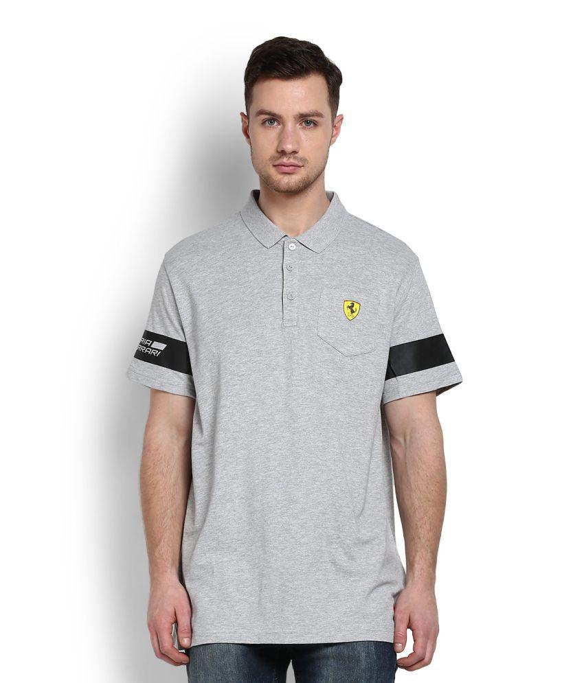 Puma Light Grey Cotton Polo T-shirt