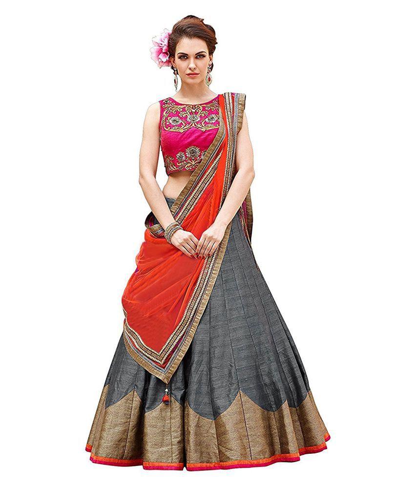 ab5fed88d Shree Impex Grey Bangalore Silk Circular Semi Stitched Lehenga - Buy Shree  Impex Grey Bangalore Silk Circular Semi Stitched Lehenga Online at Best  Prices in ...