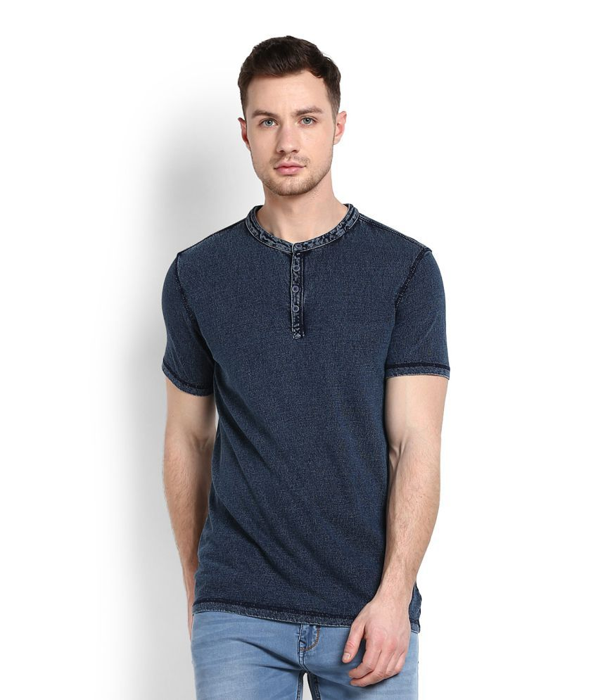 United Colors of Benetton Blue Henley T-Shirt
