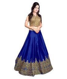 Shree Impex Blue Bangalore Silk Circular Semi Stitched Lehenga