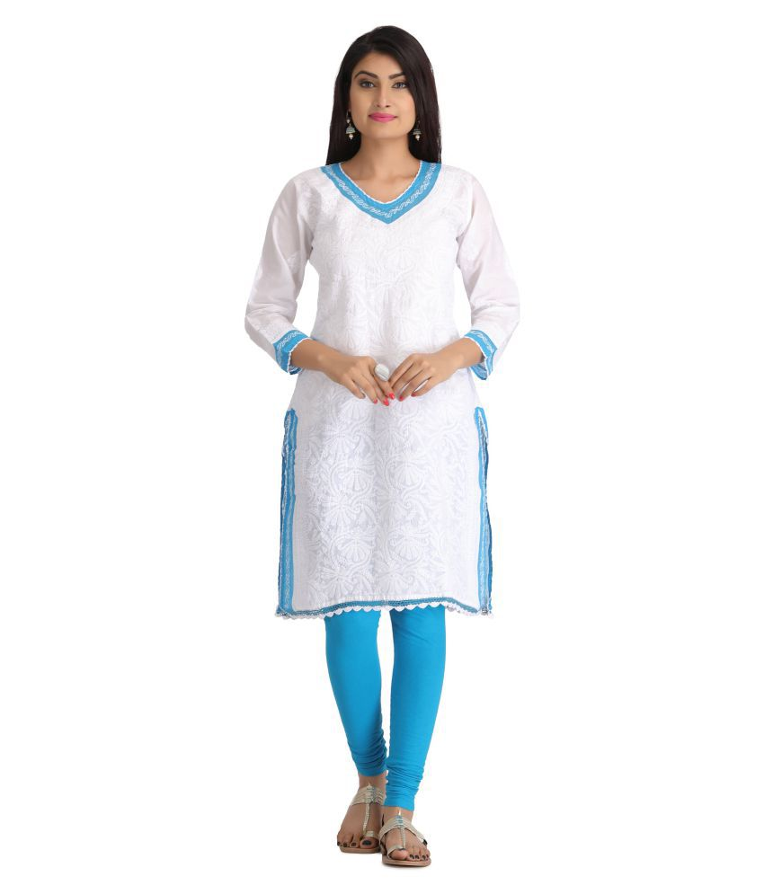 Ada White Cotton Straight Chikan Kurti