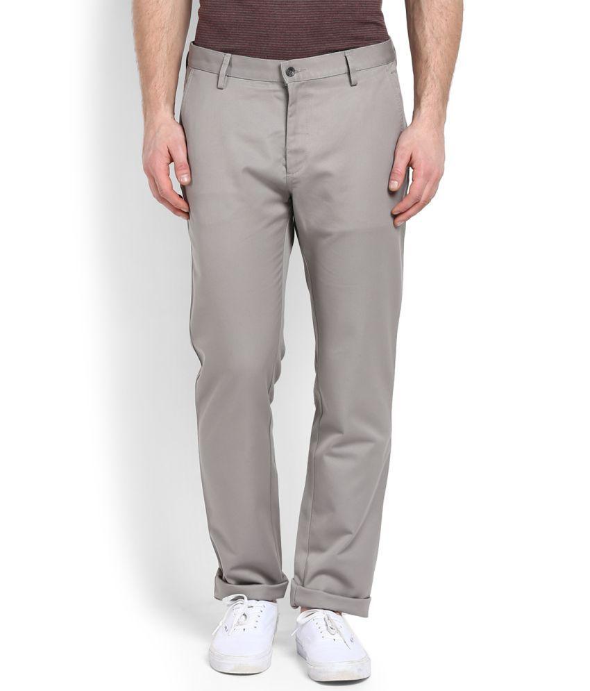 Allen Solly Grey Slim -Fit Flat Trousers