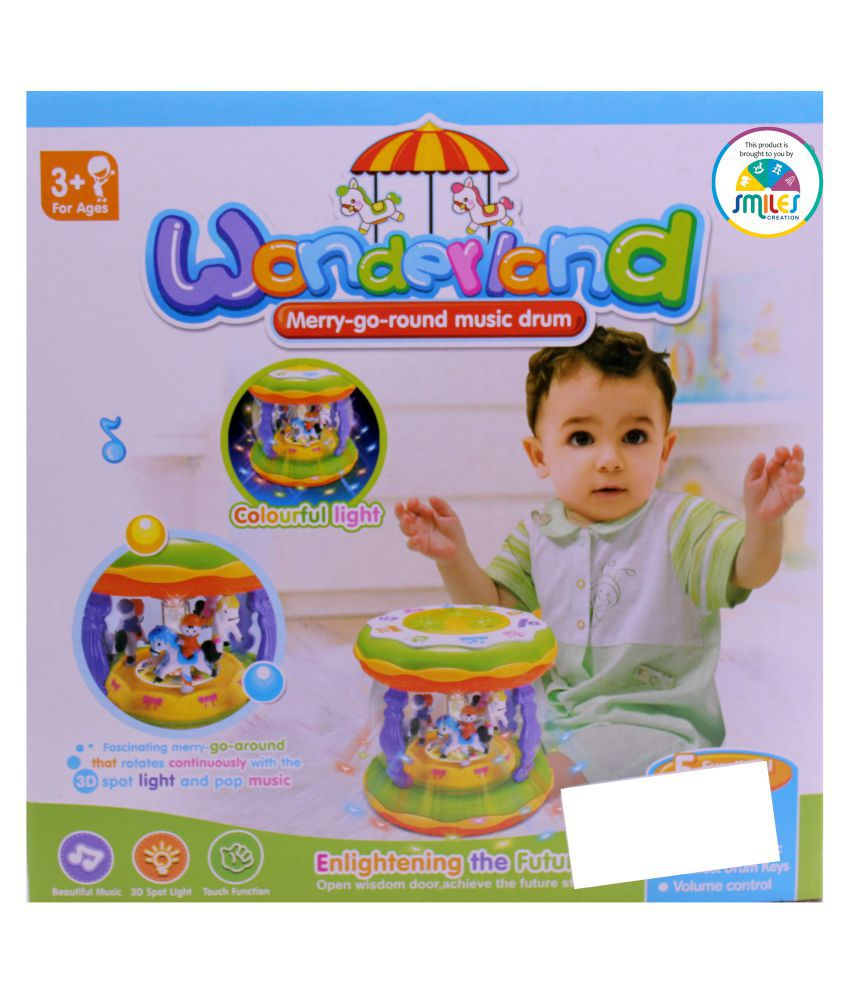 Wonderland Merry Go Round Music Drum Small Daftar Harga Terbaru Mainan Besar Usb Smiles Creation With And Lights Toy For