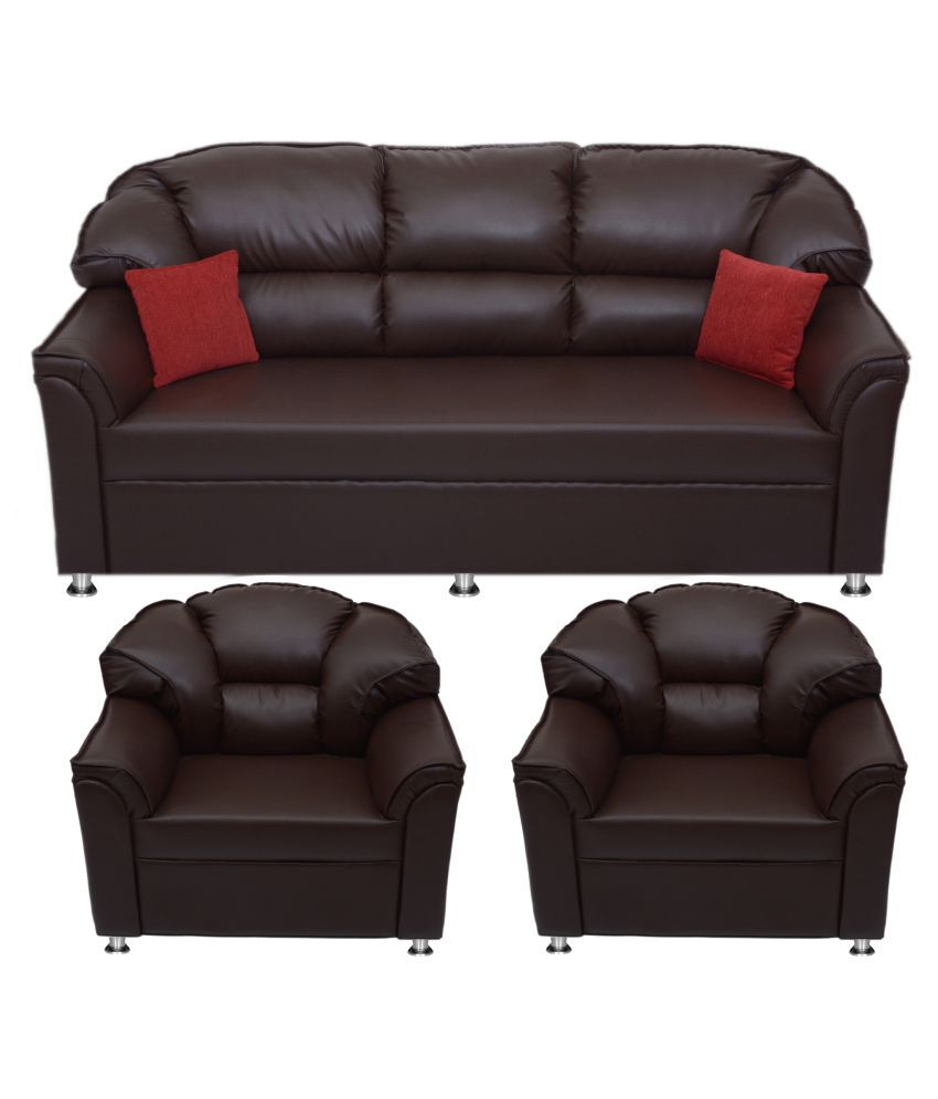 Bharat lifestyle riyan leatherette 3 1 1 sofa set snapdeal for Best living room set deals