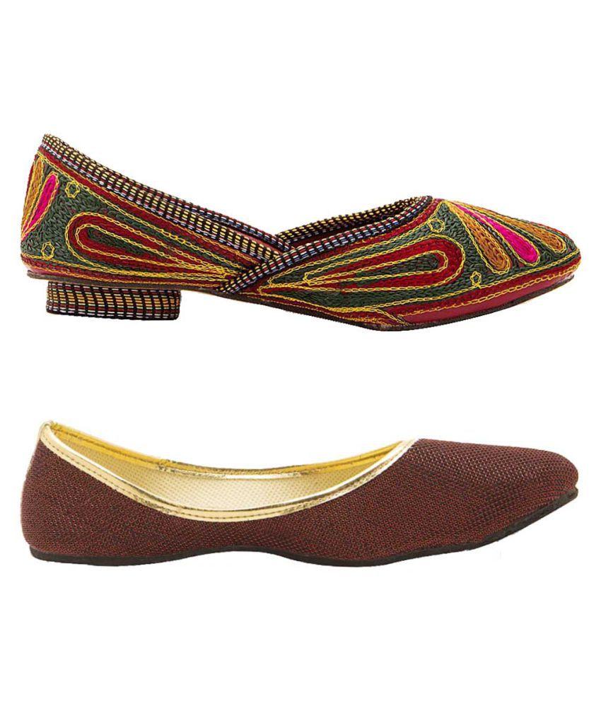 Great Art Multi Color Flat Ethnic Footwear