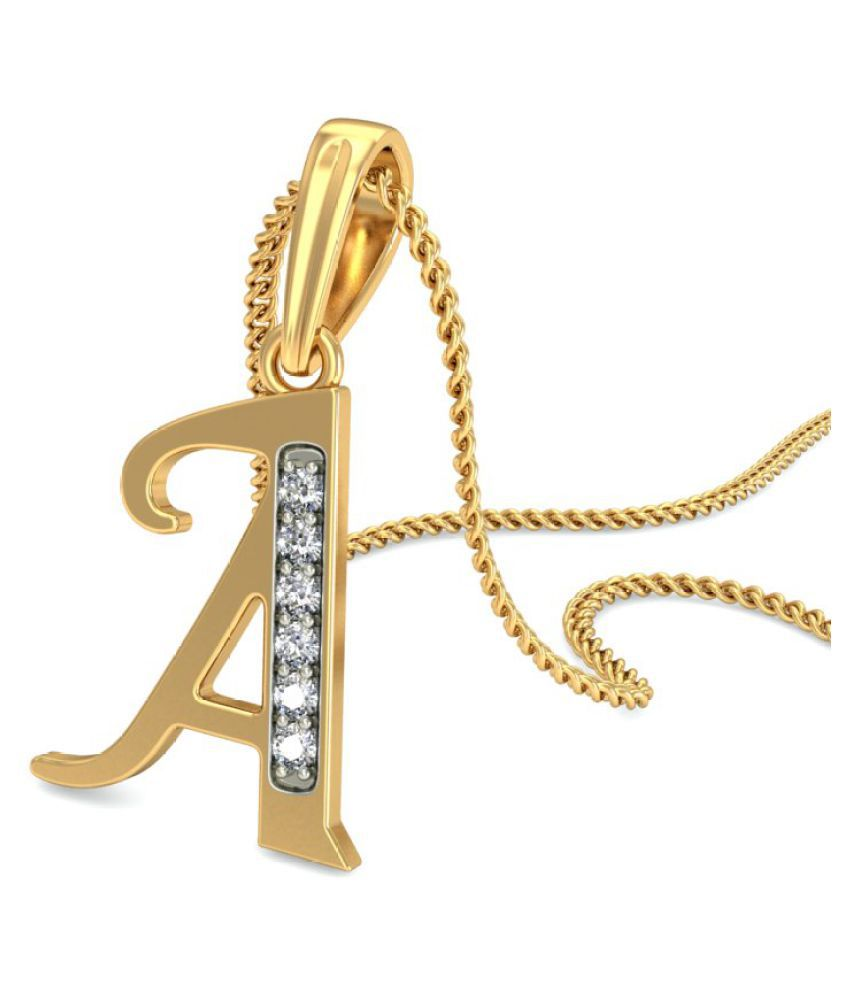 Carrydreams Gold Plated A Letter Initial Pendant With Chain